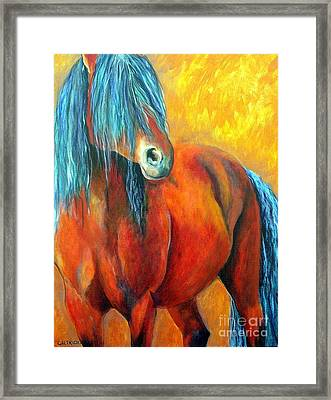 Framed Print featuring the painting Stallions Concerto  by Alison Caltrider