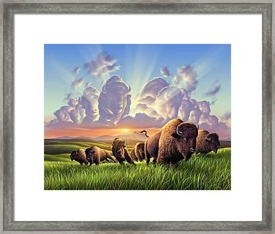 Stampede Framed Print by Jerry LoFaro