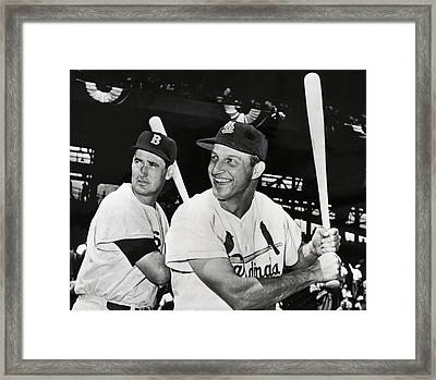 Stan Musial And Ted Williams Framed Print by Daniel Hagerman