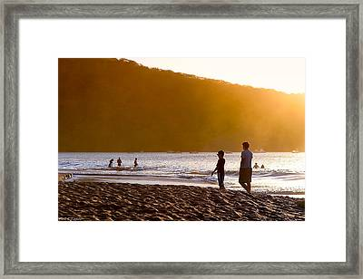 Stand By Me - Costa Rica - Sunset Beach Framed Print