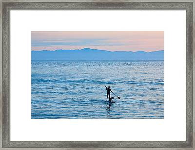 Stand Up Paddle Surfing In Santa Barbara Bay California Framed Print by Ram Vasudev