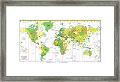 Standard Time Zones Of The World Framed Print by Pg Reproductions