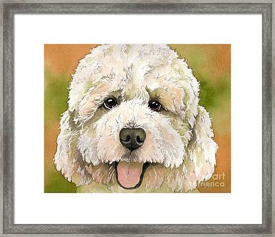 Standard White Poodle Dog Watercolor Framed Print by Cherilynn Wood
