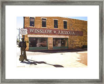 Standin On The Corner In Winslow Arizona Framed Print