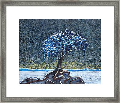 Standing Alone In The Snow Framed Print