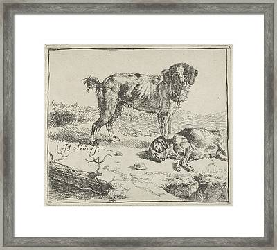 Standing And Sleeping Dog, Johan Le Ducq Framed Print by Johan Le Ducq