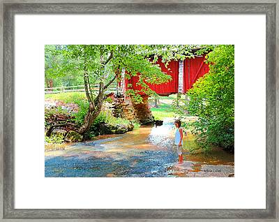 Standing By The River At Campbell's Bridge Framed Print
