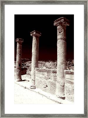 Standing Columns Framed Print by John Rizzuto