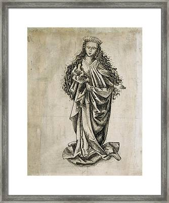 Standing Female Saint Circle Of Martin Schongauer Framed Print by Litz Collection