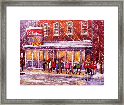 Standing In Line At The Chateau Framed Print