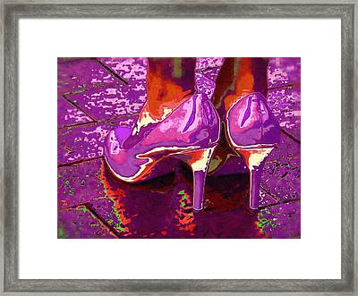 Standing In The Purple Rain Framed Print by Alec Drake