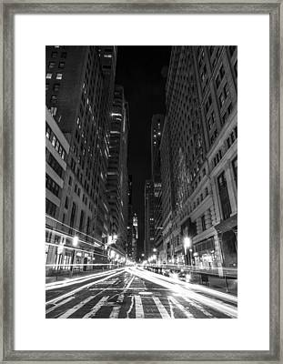 Standing In Traffic In New York City Black And White Framed Print by David Morefield
