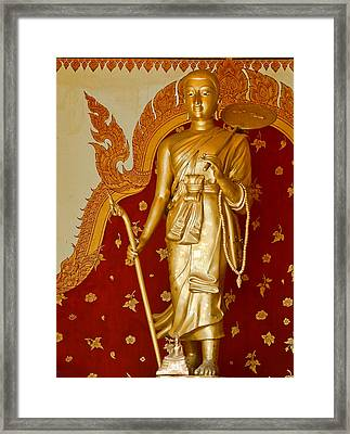 Standing Large Gold Budda Framed Print
