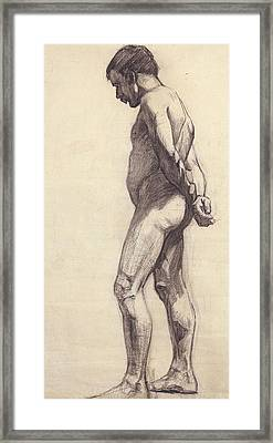 Standing Male Nude Framed Print by Felix Edouard Vallotton