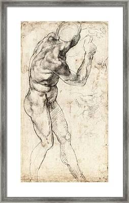 Standing Male Nude Framed Print by Michelangelo Buonarroti