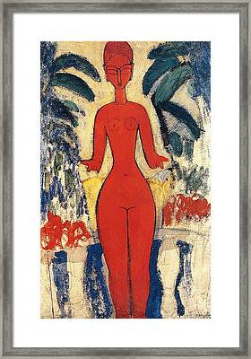 Standing Nude Framed Print by Amedeo Modigliani