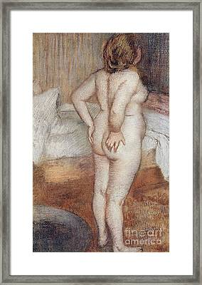 Standing Nude Framed Print by Edgar Degas