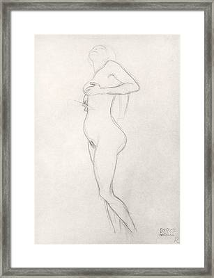 Standing Nude Girl Looking Up Framed Print by Gustav Klimt