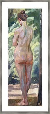 Standing Nude Framed Print by Heinrich Wilhelm Truebner