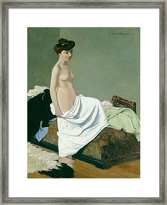 Standing Nude Holding A Gown On Her Knee Framed Print by Felix Edouard Vallotton