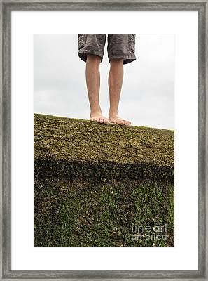Standing On A Jetty Framed Print by Edward Fielding