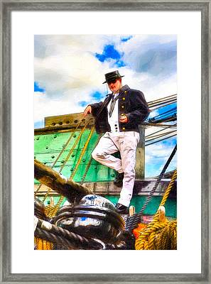 Standing On The Deck Of Old Ironsides Framed Print by Mark E Tisdale