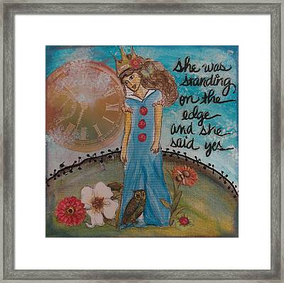 Standing On The Edge Of Destiny Framed Print by Debbie Hornsby