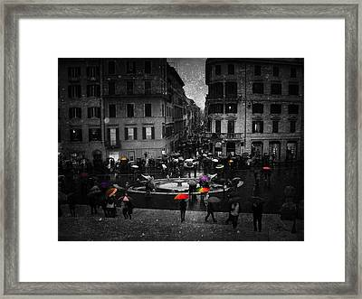 Standing Out In The Rain Framed Print by Steven  Taylor