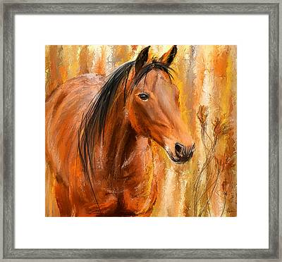 Standing Regally- Bay Horse Paintings Framed Print by Lourry Legarde