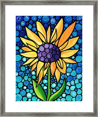 Standing Tall - Sunflower Art By Sharon Cummings Framed Print