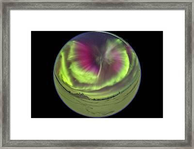 Standing Under An All-sky Aurora Framed Print