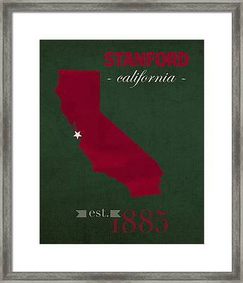 Stanford University Cardinal Stanford California College Town State Map Poster Series No 100 Framed Print by Design Turnpike