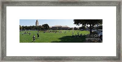 Stanford University Palo Alto California Hoover Tower Panorama From The Oval Dsc691 Framed Print by Wingsdomain Art and Photography