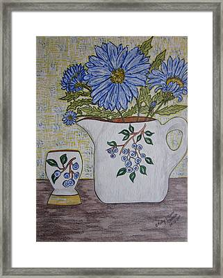 Stangl Blueberry Pottery Framed Print by Kathy Marrs Chandler