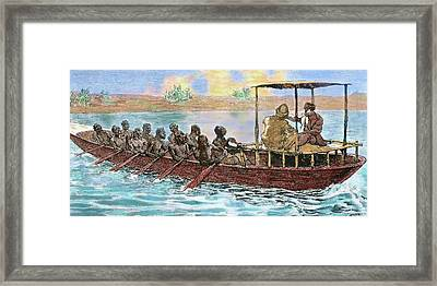 Stanley And Livingstone In A Canoe Framed Print by Prisma Archivo