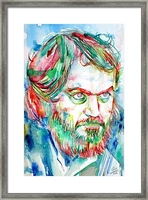 Stanley Kubrick Watercolor Portrait Framed Print