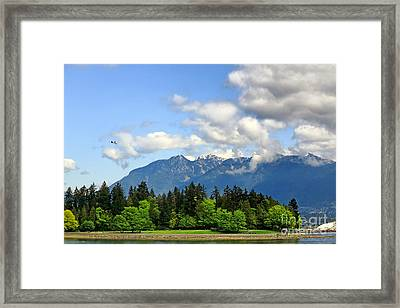 Stanley Park And Lions Mountain Framed Print by Charline Xia