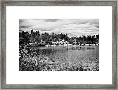stanley park coal harbour and Vancouver rowing club marina BC Canada Framed Print by Joe Fox
