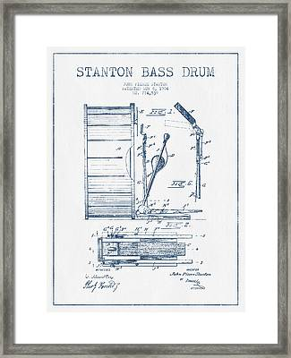 Stanton Bass Drum Patent Drawing From 1904 - Blue Ink Framed Print by Aged Pixel