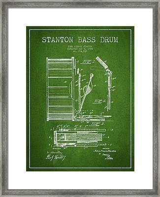 Stanton Bass Drum Patent Drawing From 1904 - Green Framed Print