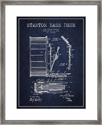 Stanton Bass Drum Patent Drawing From 1904 - Navy Blue Framed Print