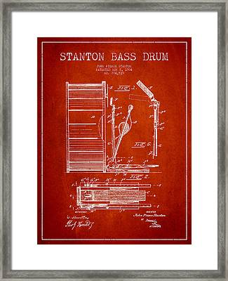 Stanton Bass Drum Patent Drawing From 1904 - Red Framed Print