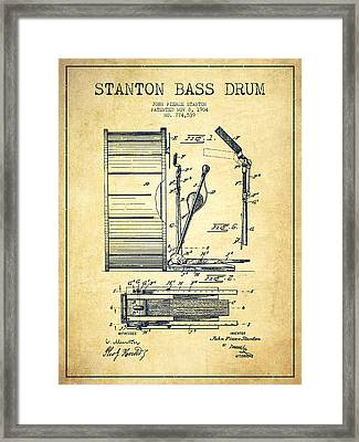 Stanton Bass Drum Patent Drawing From 1904 - Vintage Framed Print by Aged Pixel
