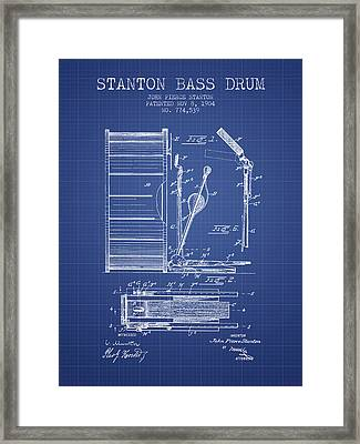 Stanton Bass Drum Patent From 1904 - Blueprint Framed Print