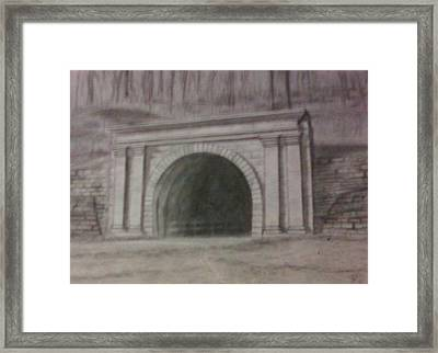 Framed Print featuring the drawing Staple Bend Tunnel West Facade by Thomasina Durkay