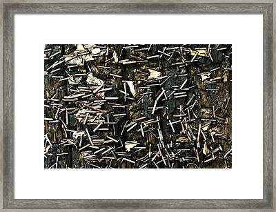 Framed Print featuring the photograph Staples On Wood by Crystal Hoeveler