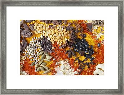 Star Anise And Black Beans Framed Print by Paul Cowan