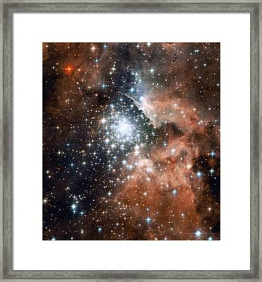 Star Cluster And Nebula Framed Print by Sebastian Musial