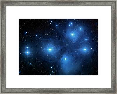 Star Cluster Pleiades Seven Sisters Framed Print by Jennifer Rondinelli Reilly - Fine Art Photography