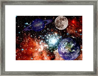 Star Field With Planets Framed Print
